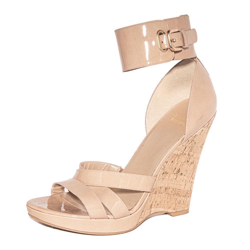 Stuart Weitzman Size 10 Tan Patent Cork Wedge Sandals