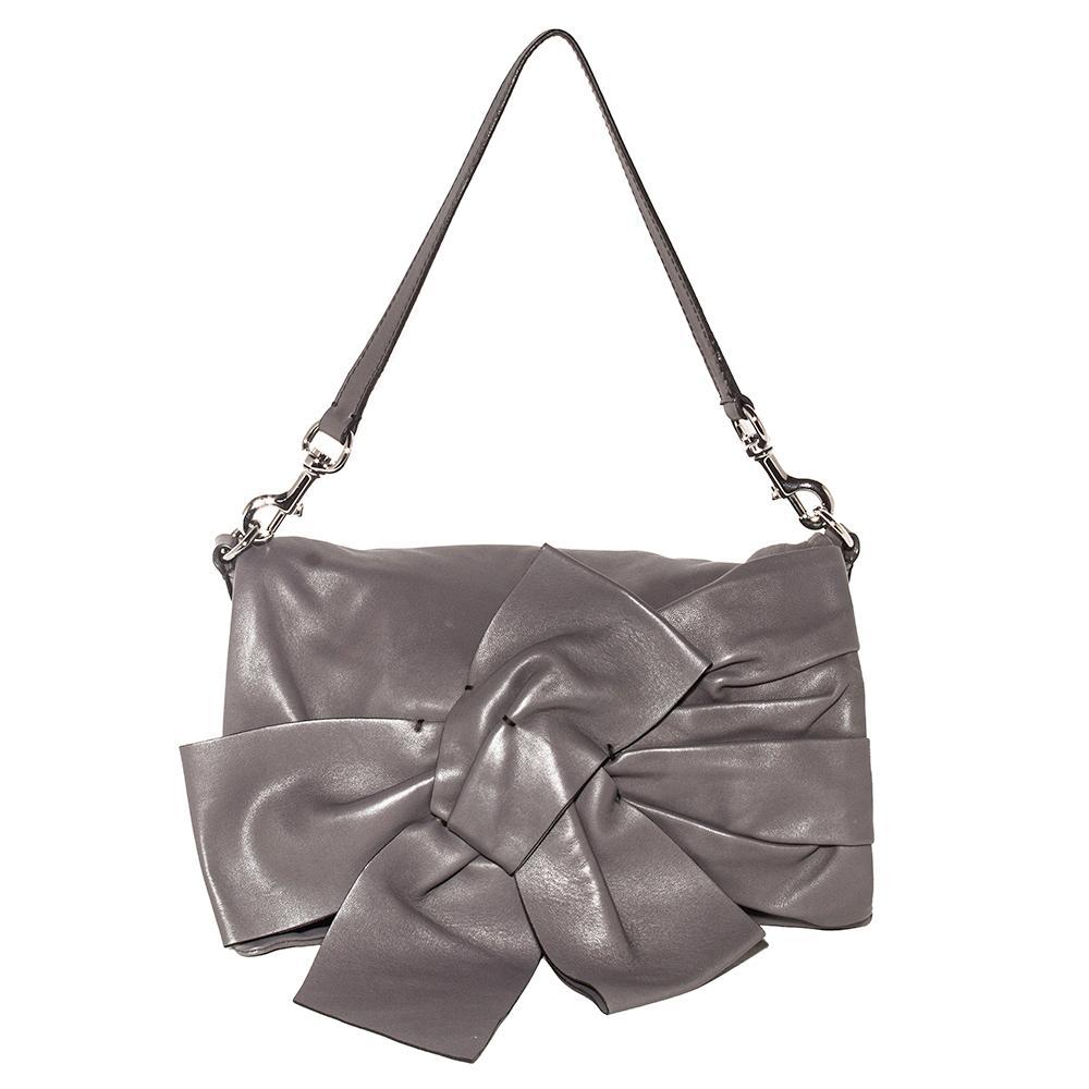 Valentino Size Medium Grey Lambskin Bow Shoulder Bag