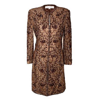 Oscar De La Renta Size 10 Metallic Brown Beaded Jacket