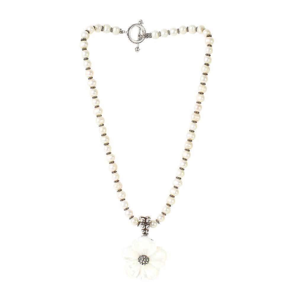 Stephen Dweck Pearl Flower Necklace