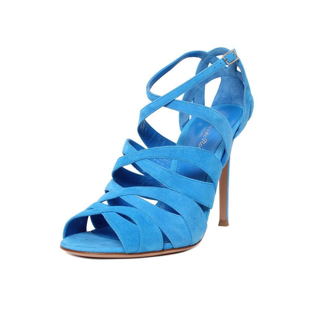 Gianvito Rossi Size 39 Blue Suede Heels