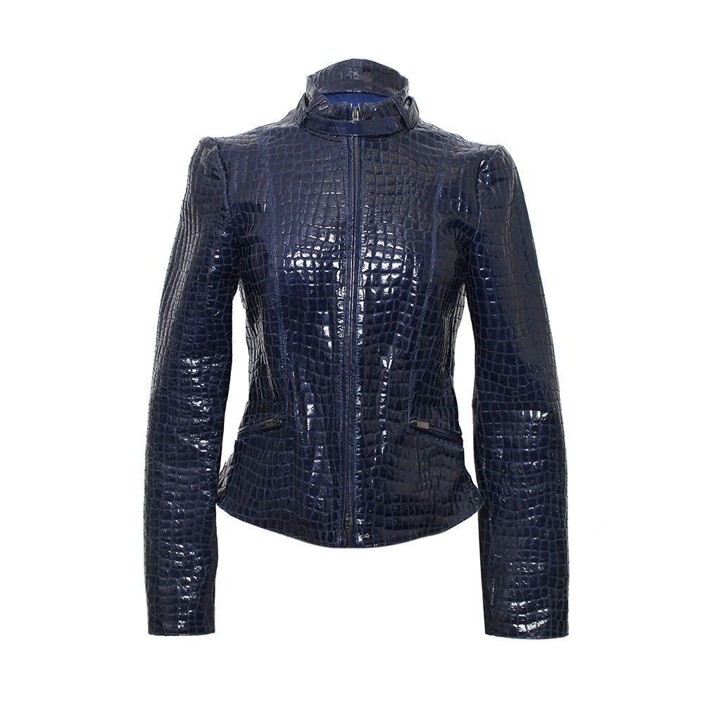 Armani Collezioni Size 4 Navy Leather Jacket