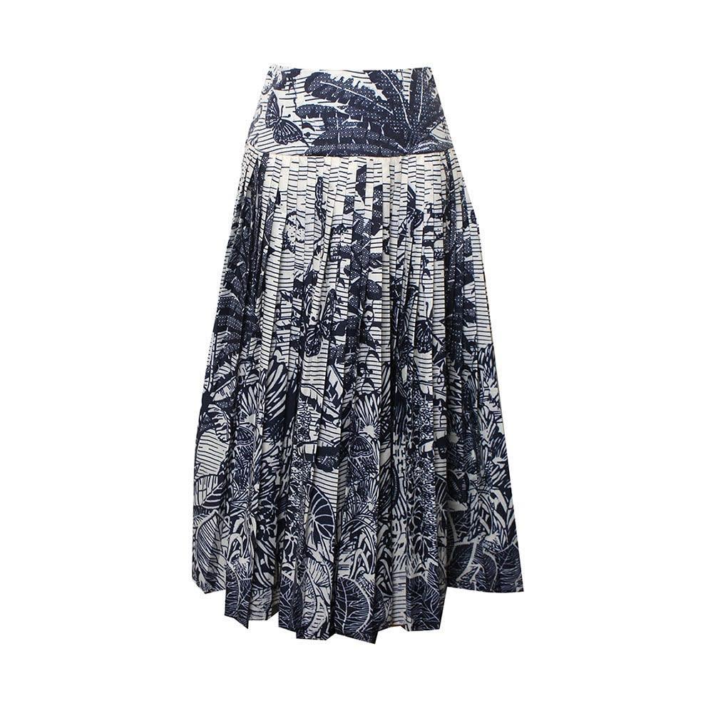Christian Dior Size Medium Blue & White Print Skirt