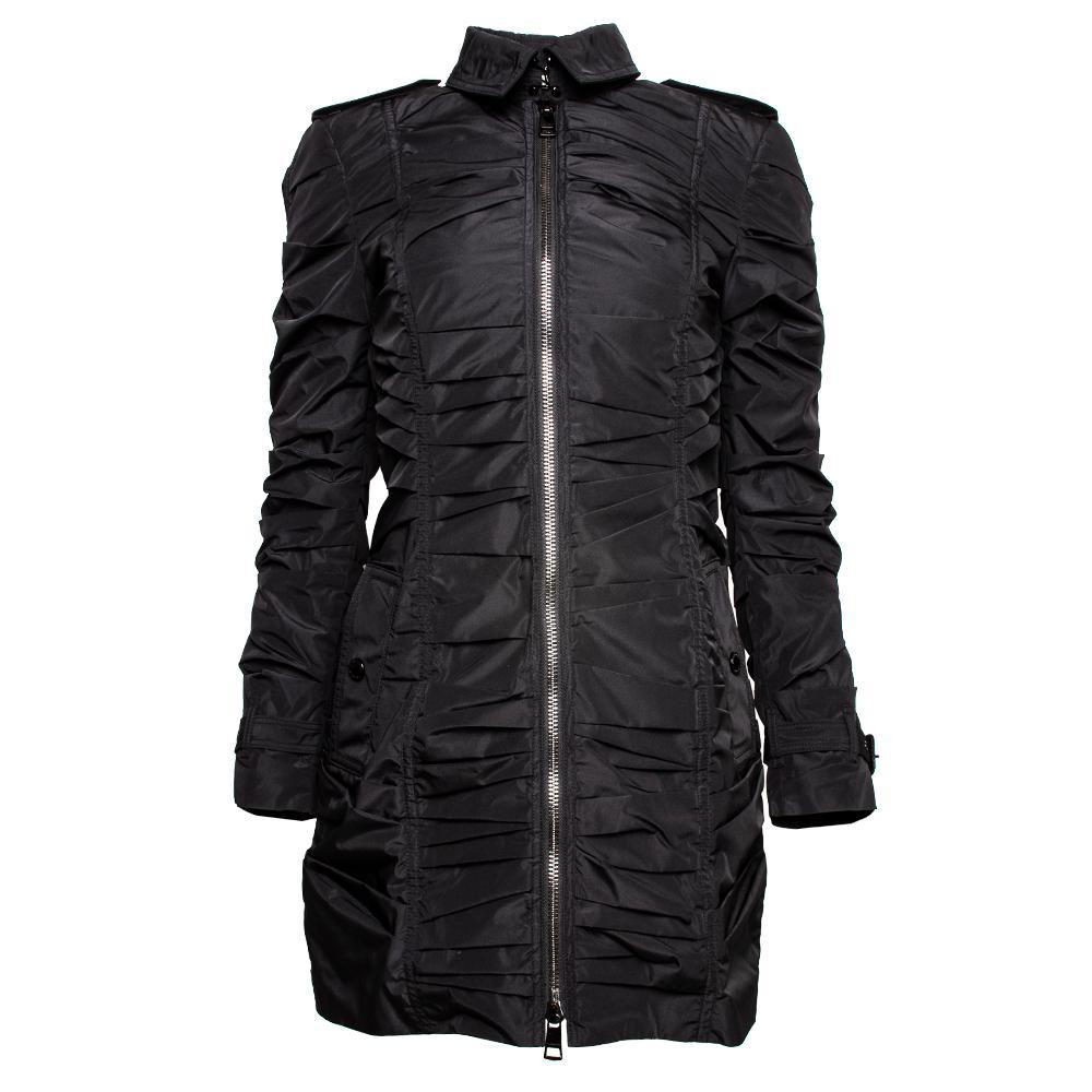Burberry Size 4 Black Ruched Nylon Zip Up Jacket
