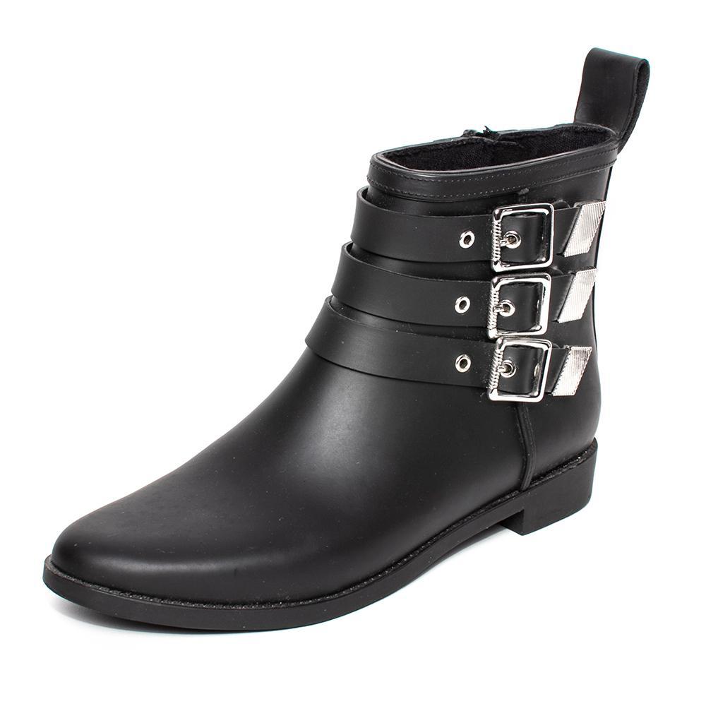 Loeffler Randall Size 7 Black Rubber Side Zip Boots