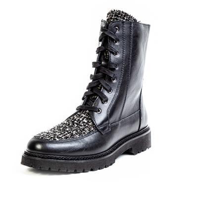 Aquatalia Size 9 Leather Tweed Lace up Boots
