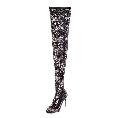 Dolce + Gabbana Size 39.5 Black Pattern Mesh Accents Boots