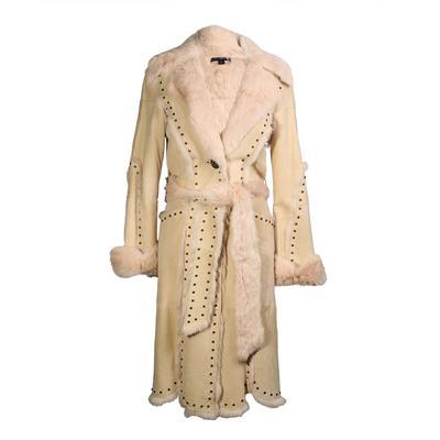Sheri Bodell  Size XS Studded Rabbit Fur Coat