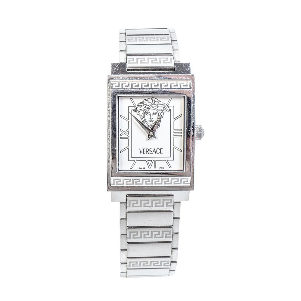 Versace Silver Landmark Rectangle Watch