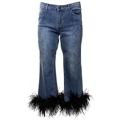 Alice + Olivia Size 29 Light Blue Feather Hemmed Jeans