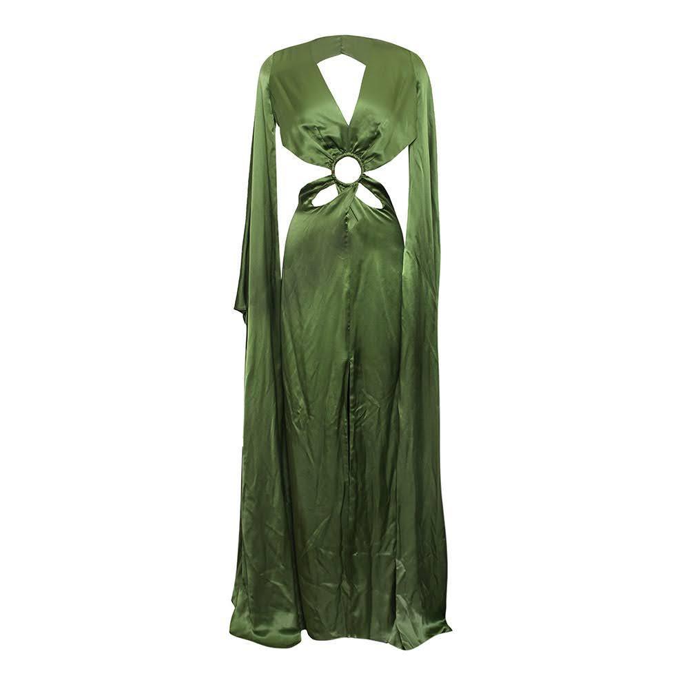 Cult Gaia Size 8 Green Silk Dress