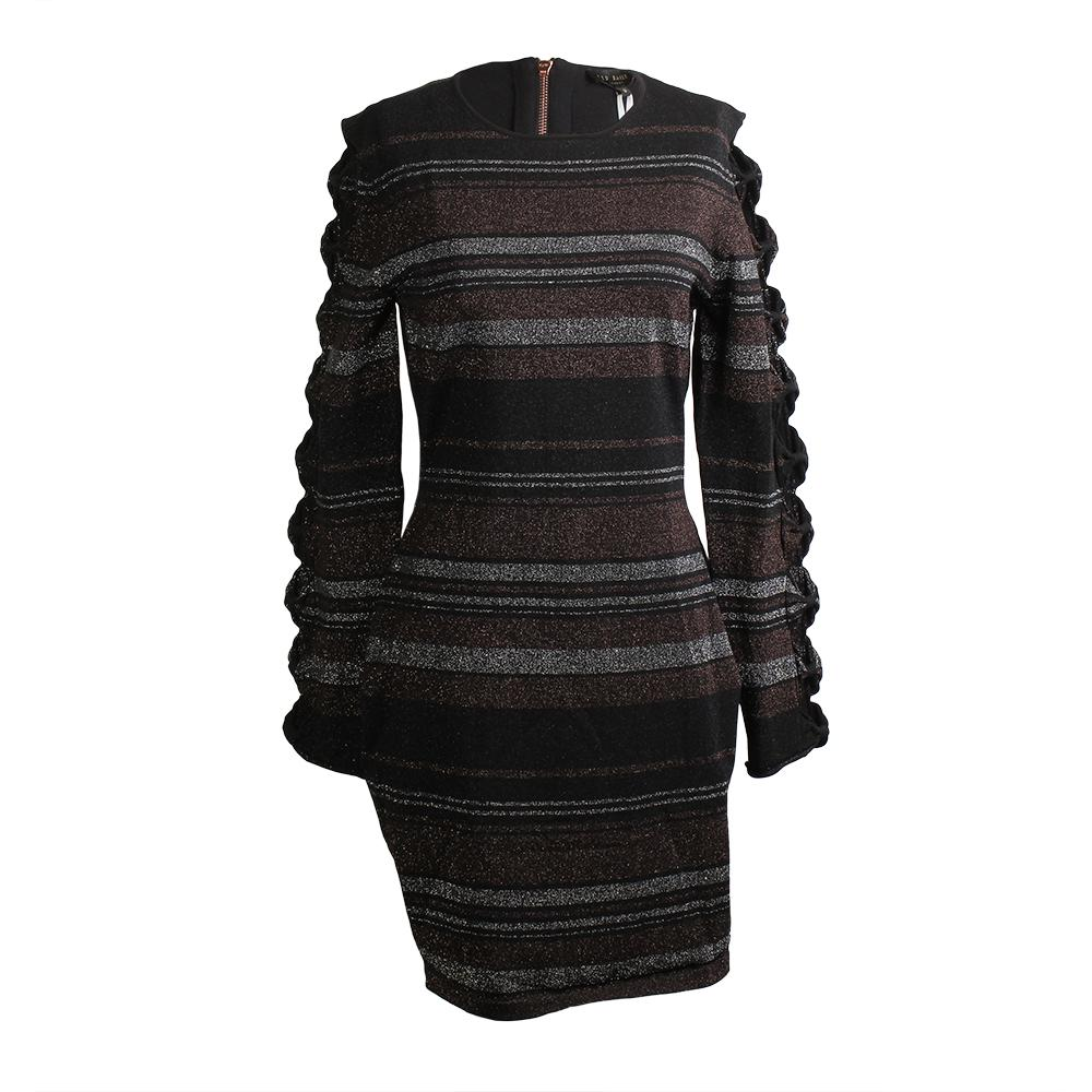 Ted Baker Size 8 Lurex Stripe Bow Detail Dress