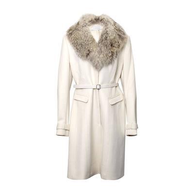 Elie Tahari Size Large Off White Fur Collar Coat