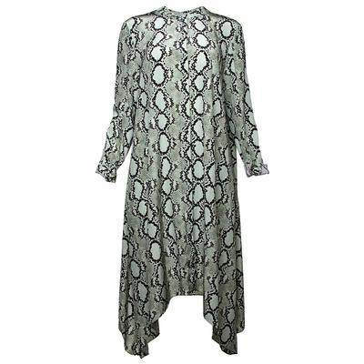 St. John Size 10 Green Snake Print Silk Dress
