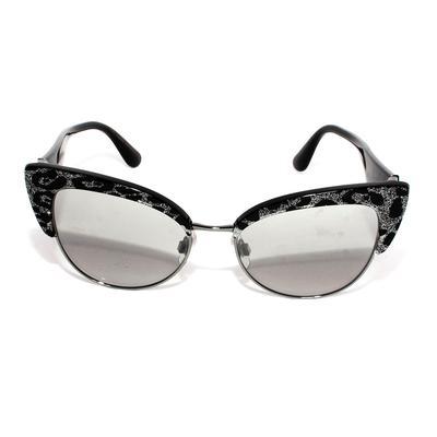Dolce & Gabbana Black Glitter Cateye Sunglasses