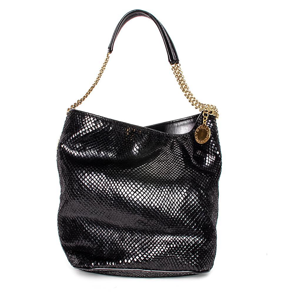 Stella Mccartney Black Faux Python Bailey Handbag