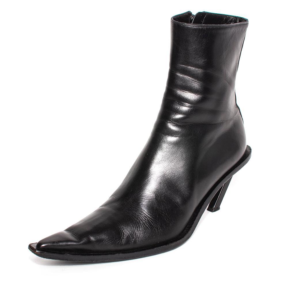 Ann Demeulemeester Size 38 Black Leather Slant Heel Boots