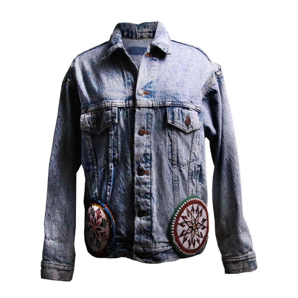 Vintage Levis Size Medium Embroidered Denim Jacket