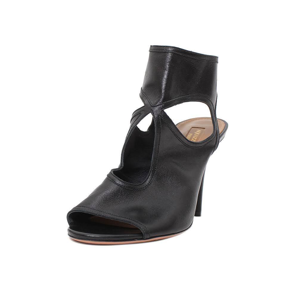 Aquazzura Size 39 Black Leather Heels