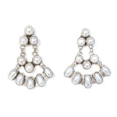 Cleveland Nakai Pearls Chandelier Earrings