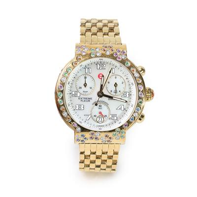 Michele Extreme Fleur Gold Watch