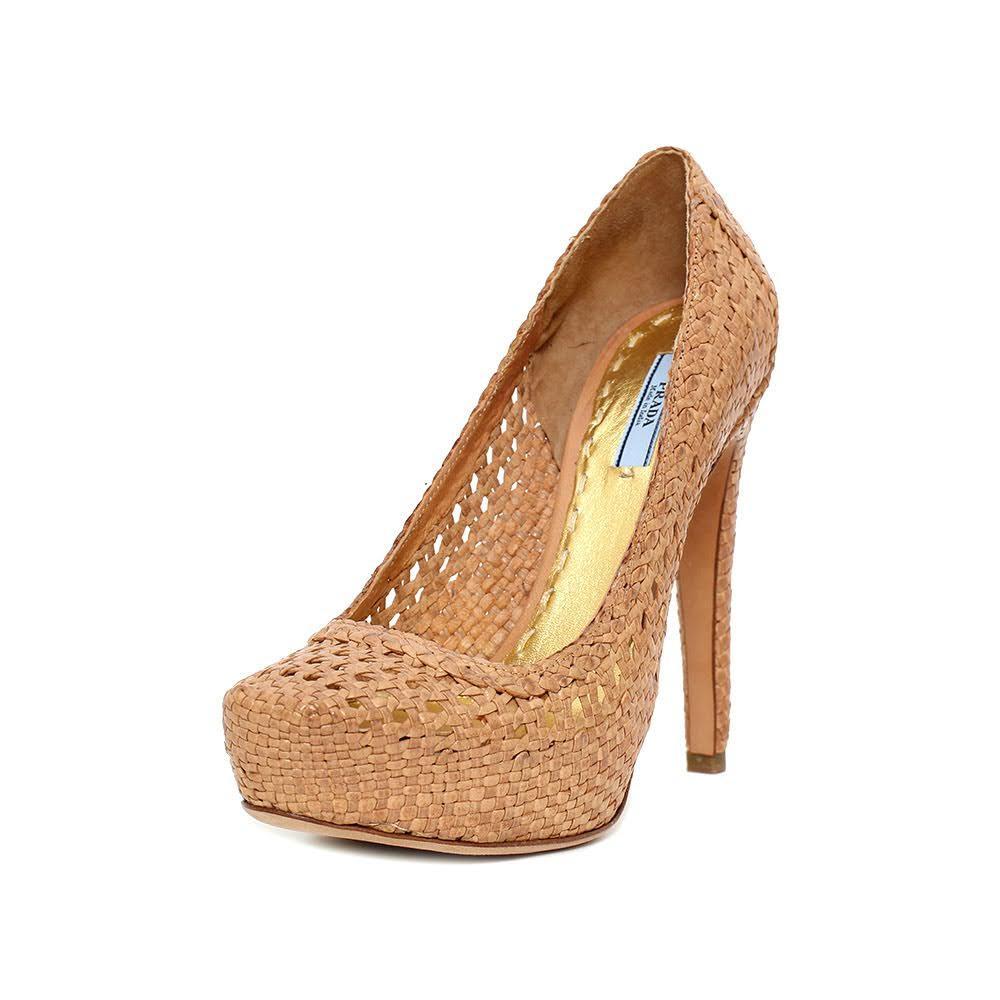 Prada Size 38.5 Tan Woven Heels