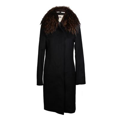 Burberry Size 6 Removable Fur Trim Collar Coat