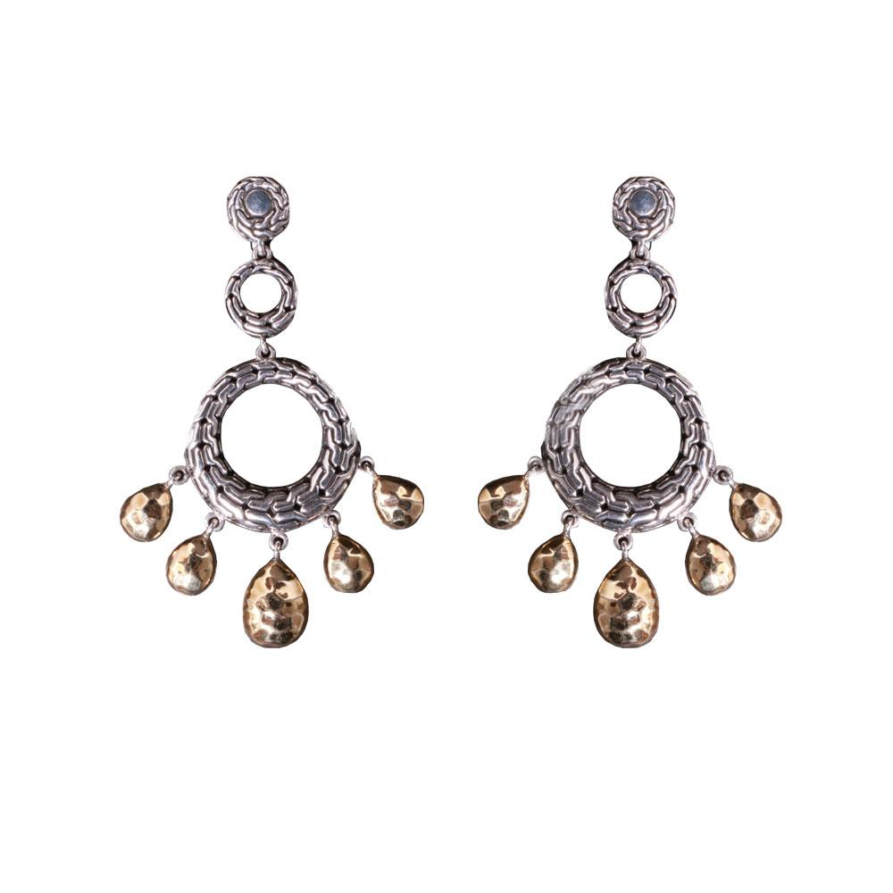 John Hardy 18k Hammered Circle Earrings