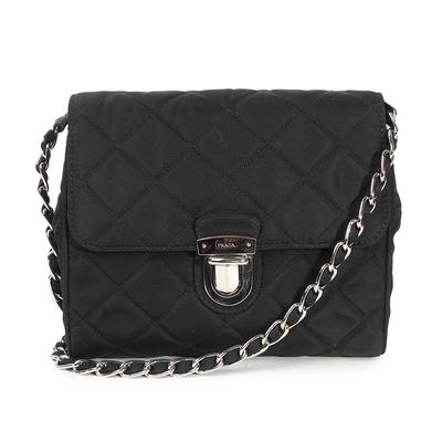 Prada Black Quilted Tessuto Impuntu Nylon Flap Crossbody Bag