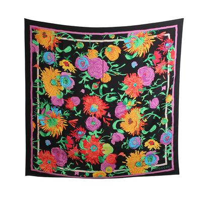 Gucci Black Floral Print Scarf