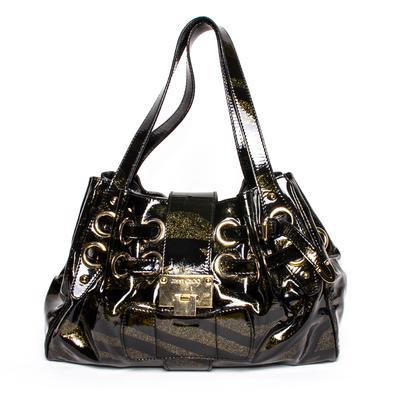 Jimmy Choo Black Patent Glitter Hobo Bag