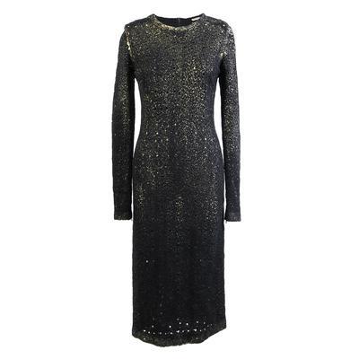 Bottega Veneta Size 38 Black & Gold Long Sleeve Dress