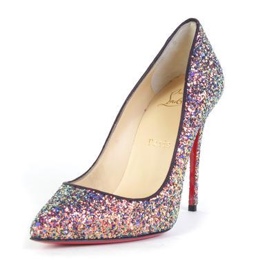 Christian Louboutin Size 37.5 Multi-Glitter High Heel
