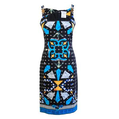 Versace Size 40 Patterned Black Short Dress