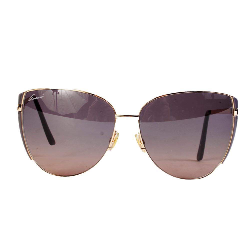 Gucci Gold Tan Dark Lens Aviator Sunglasses