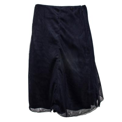 Chanel Size 42 Vintage 2002 Navy Mesh Skirt