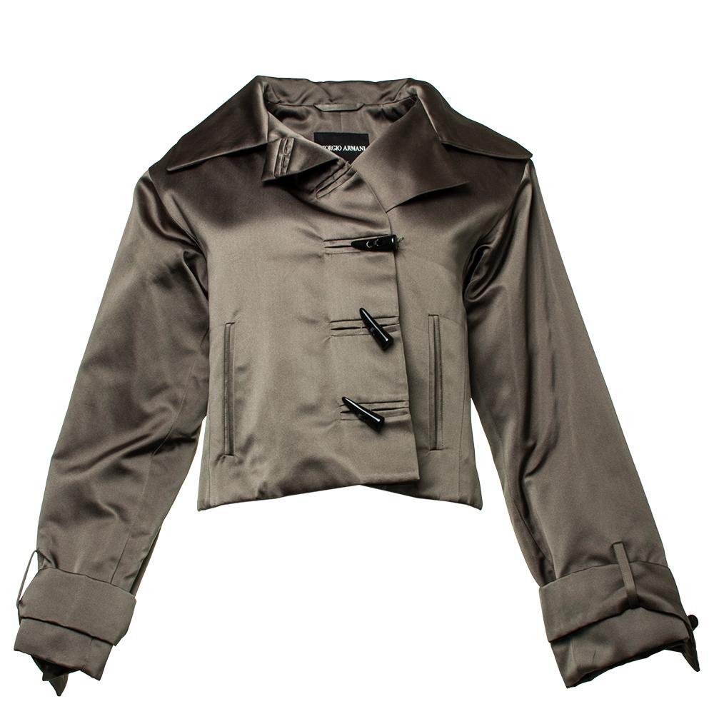 Giorgio Armani Size 40 Grey Satin Evening Jacket