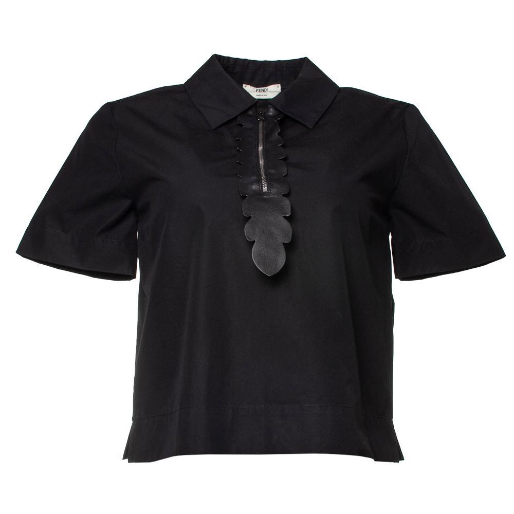 Fendi Size 38 Black Blouse