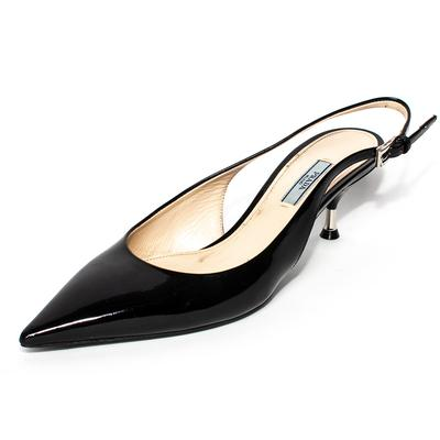 Prada Size 39 Black Patent Kitten Slingback Heels