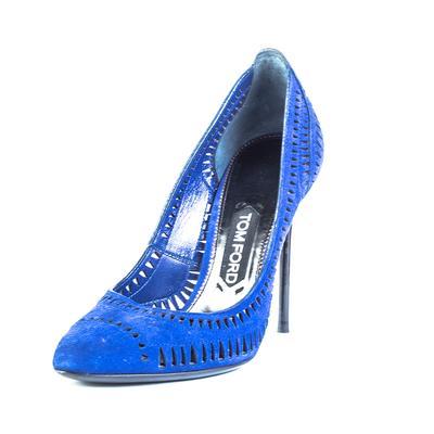Tom Ford Size 37.5 Blue Laser Cut Suede High Heel