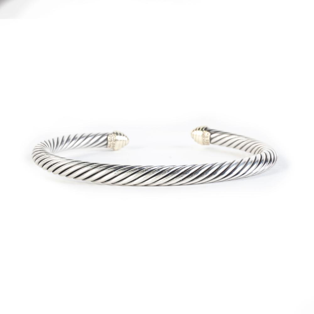 David Yurman 2 Tone Cable Classic Bracelet