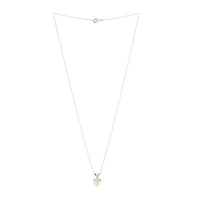 14 Karat White Gold Pearl Necklace