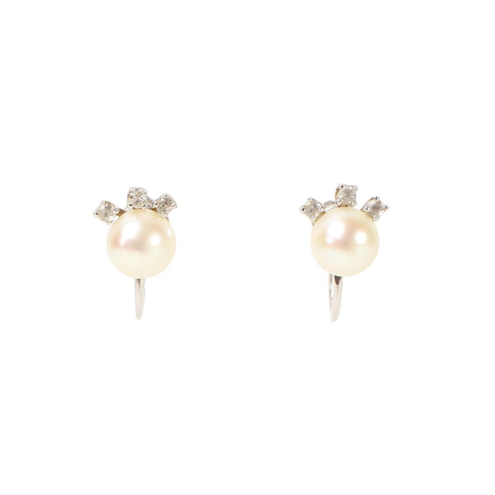 14 Karat White Gold Pearl Earrings