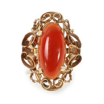 Filigree Size 6 Vintage Carnelian Ring