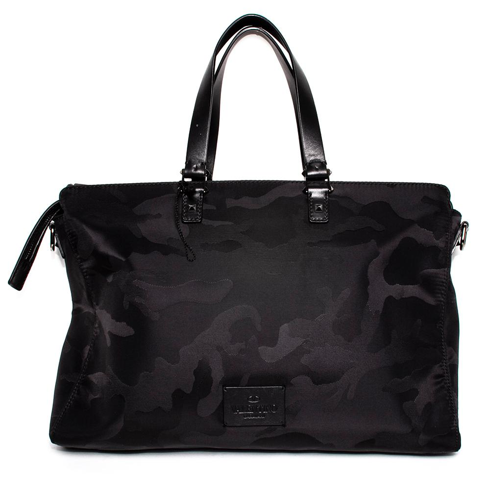 Valentino Black Camo Nylon Laptop Bag