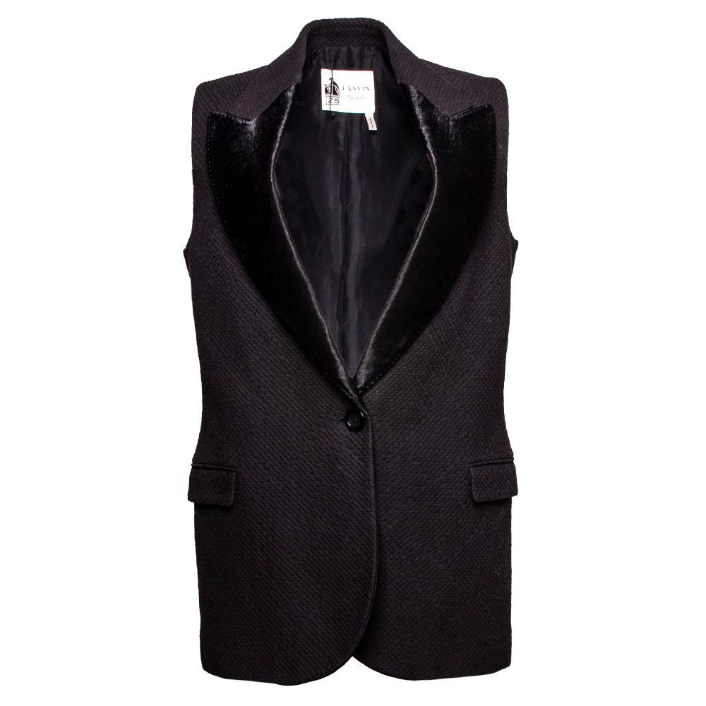 Lanvin Size 38 Black Peak Lapel Tuxedo Vest
