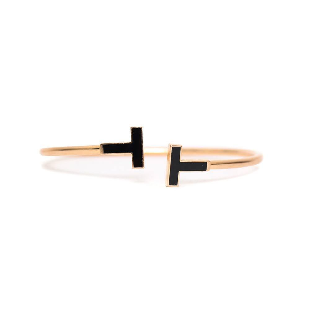 Tiffany + Co.Tt Gold And Onyx Bracelet