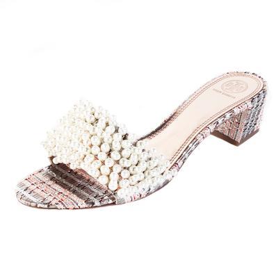 Tory Burch Size 11 Tweed Faux Pearl Sandal