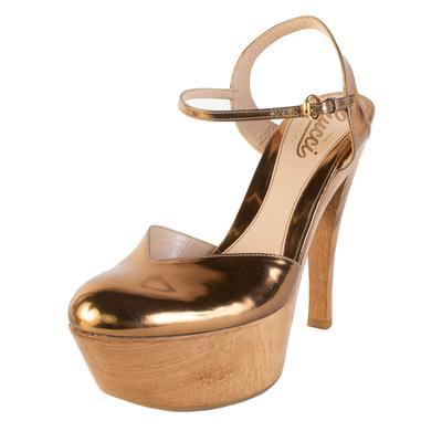 Gucci Size 37.5 Gold Metallic Heel