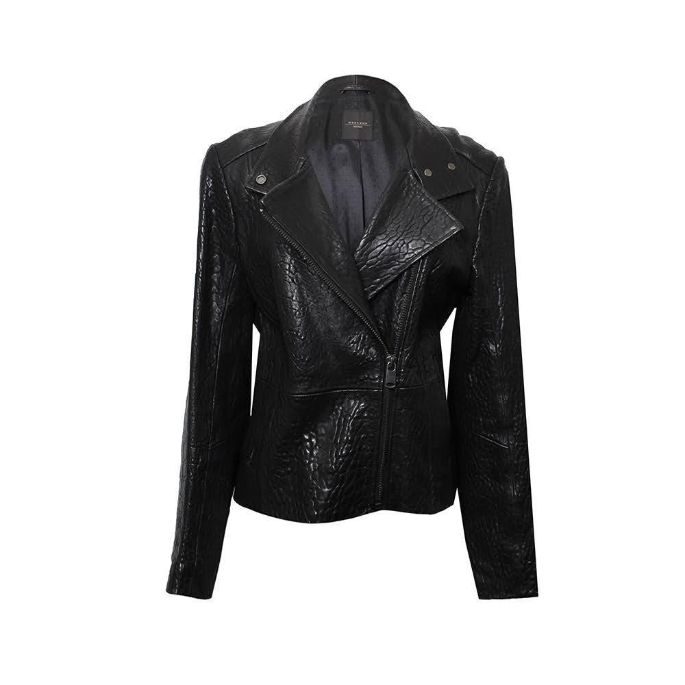 Max Mara Size 10 Leather Biker Jacket